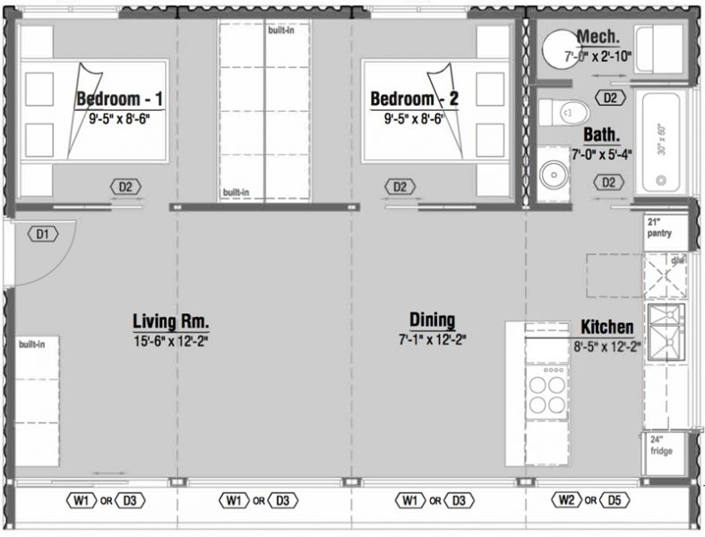 Arquitectura_Honomobo Container Homes-modelo 2 habitaciones