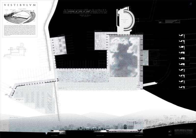"""""""Museo Imperial Romano: Puerta nueva de Villa Adriana"""" Concepción Beldad Camuñas primer premio III Edición concurso PFC arquitecturayempresa panel 02"""
