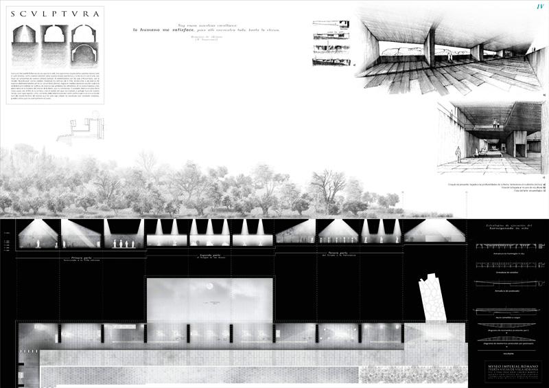"""""""Museo Imperial Romano: Puerta nueva de Villa Adriana"""" Concepción Beldad Camuñas primer premio III Edición concurso PFC arquitecturayempresa panel 04"""