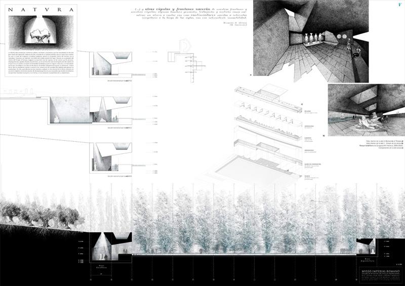 """""""Museo Imperial Romano: Puerta nueva de Villa Adriana"""" Concepción Beldad Camuñas primer premio III Edición concurso PFC arquitecturayempresa panel 05"""