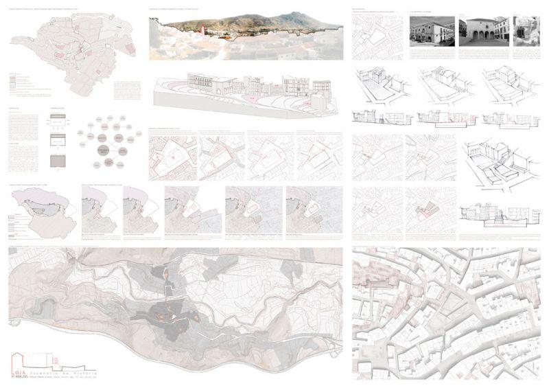 Escenario de Historia equipamiento híbrido en Loja Antonio Manuel Romacho Sáez tercer premio III Edición concurso PFC arquitecturayempresa Panel 01