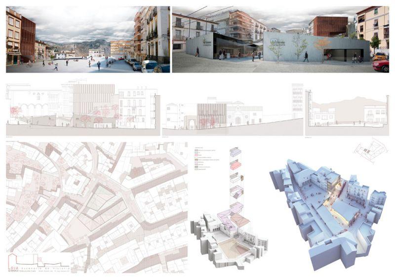 Escenario de Historia equipamiento híbrido en Loja Antonio Manuel Romacho Sáez tercer premio III Edición concurso PFC arquitecturayempresa Panel 02