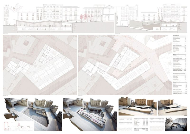 Escenario de Historia equipamiento híbrido en Loja Antonio Manuel Romacho Sáez tercer premio III Edición concurso PFC arquitecturayempresa Panel 03