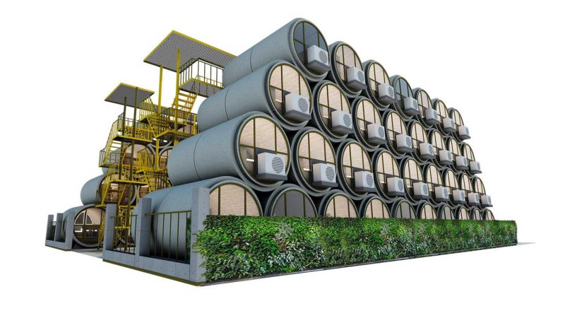 OPod Tube Housing de James Law Cybertecture render urbanizacion