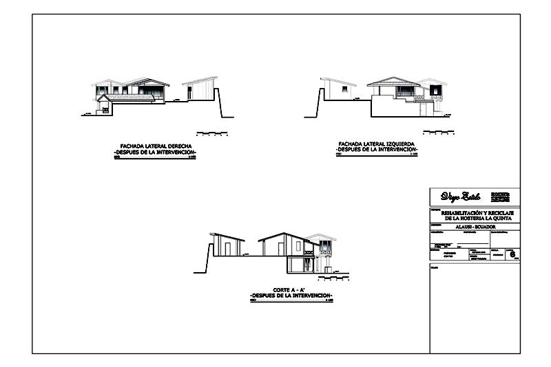 Arquitectura_la quinta_rehabilitación_fachadas laterales y seccion despues de la intervención
