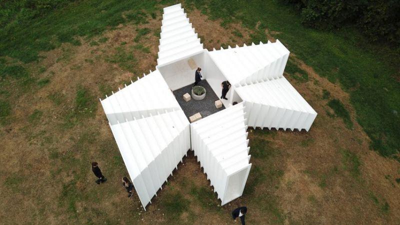 arquitectura Levenbetts Zoid Pabellon experimental Art Omi fotografia Richard Barnes aerea