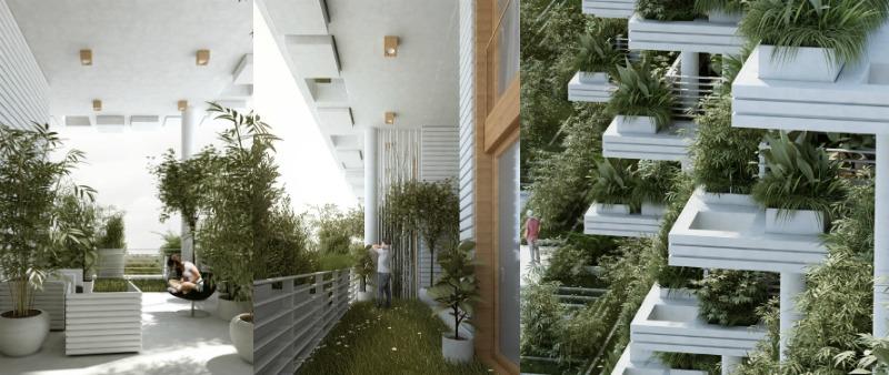 arquitectura, arquitecto, diseño, design, interior, interiorismo, ecología, ecológico, jerdines verticales, viviendas, villas, lujo, sostenible, sostenibilidad, Vaastu, India, Penda, Hyderabad, Magic Breeze, Sky Villa Complex