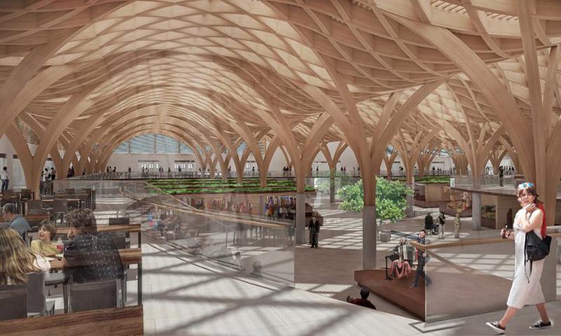 Arquitectura_mercado-municipal-temuco-rehabilitación_imagen techos interior 3d
