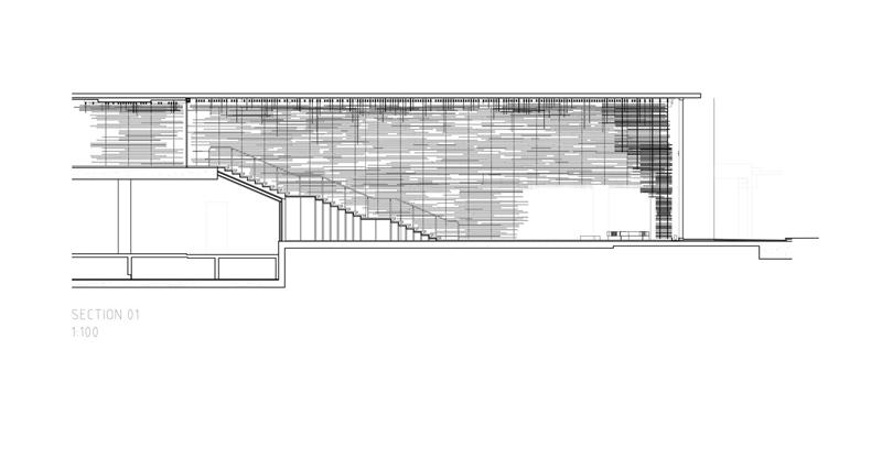 Arquitectura_ Nishi Commercial lobby Hotel__dibujo de sección escalera