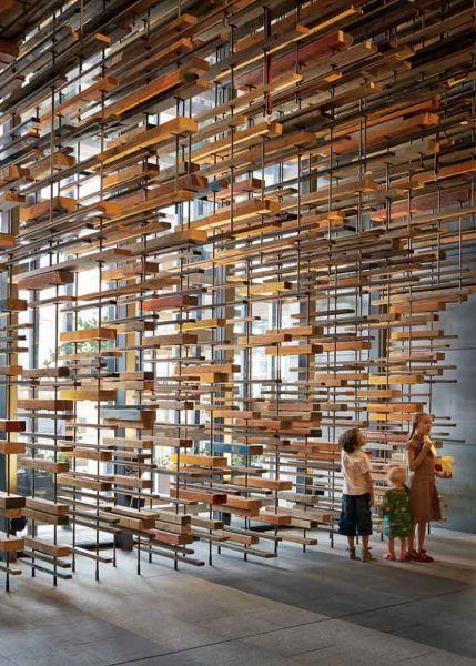Arquitectura_ Nishi Commercial lobby Hote__vista de listones colgados