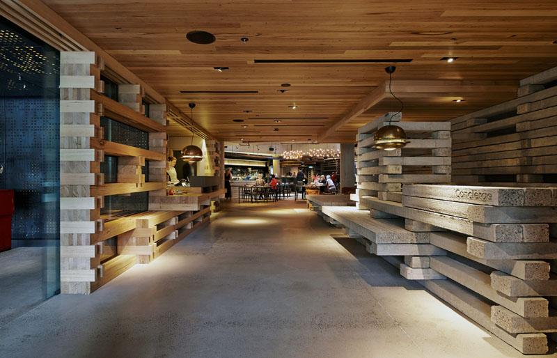 Arquitectura_ Nishi Commercial lobby Hotel_pareces del vestíbulo