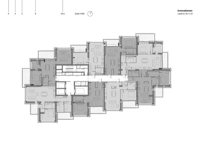 arquitectura Norra Tornen OMA Reiner de Graaf Torre Innovationen planta tipo 1