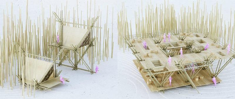 arquitectura, arquitecto, diseño, design, Penda, China, sostenible, sostenibilidad, arquitectura flexible, hotel, árbol, bambú, naturaleza, triangular, modular, One With The Birds, ecología, ecológico