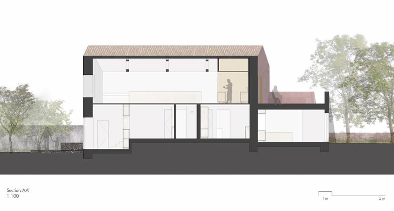 Arquitectura_pink_house_rehabilitacion establo_ Seccion a-a'