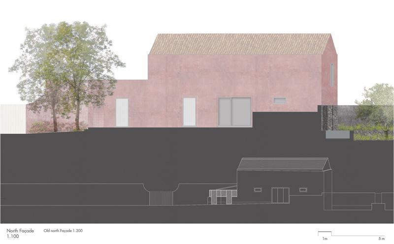 Arquitectura_pink_house_rehabilitacion establo_alzado norte