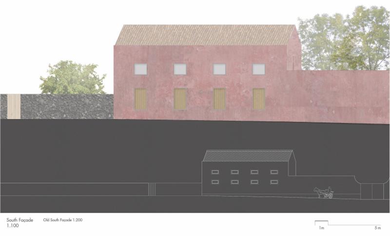 Arquitectura_pink_house_rehabilitacion establo_alzado sur