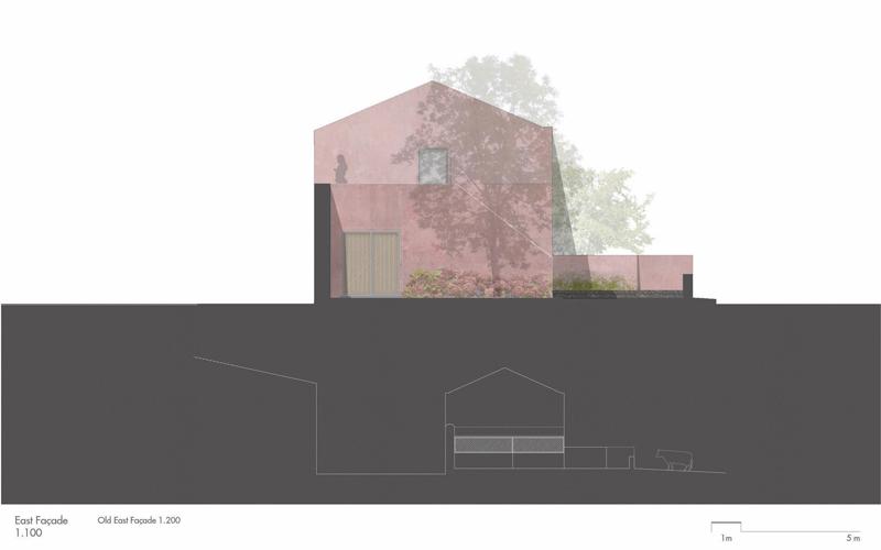 Arquitectura_pink_house_rehabilitacion establo_ alzado >Este