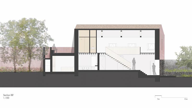 Arquitectura_pink_house_rehabilitacion establo_ seccion b-b'