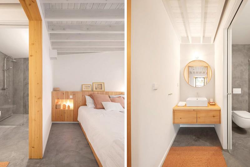Arquitectura_pink_house_rehabilitacion establo_interior  estancias colores ocres  puertas