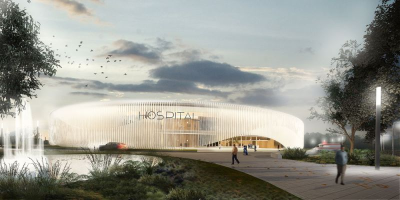 arquitectura PMMT hospital angola render