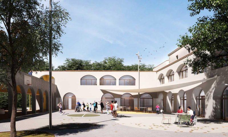arquitectura La Rectoria Frater In albergue accesible PMMT Arquitectura render patio