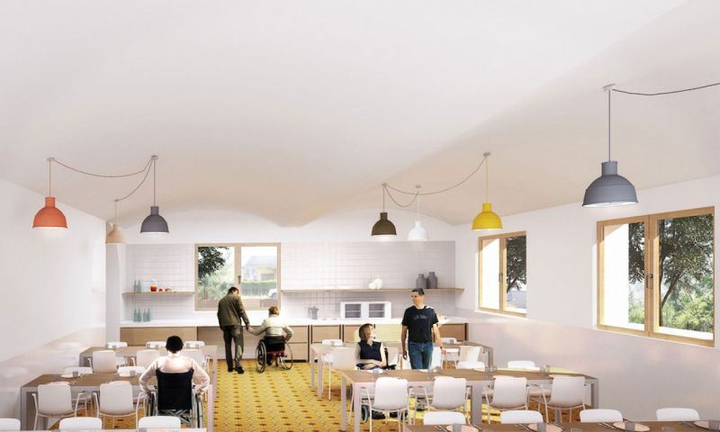 arquitectura La Rectoria Frater In albergue accesible PMMT Arquitectura render cocina