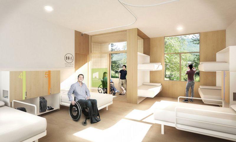 arquitectura La Rectoria Frater In albergue accesible PMMT Arquitectura render habitacion