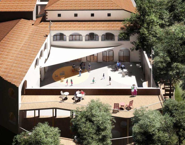 arquitectura La Rectoria Frater In albergue accesible PMMT Arquitectura render exterior