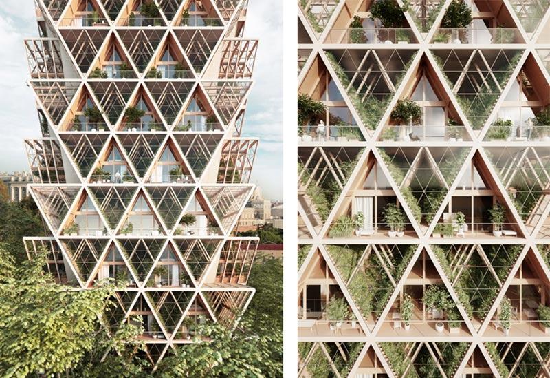 arquitectura Precht Farmhouse huertos en altura render exterior torre detalle terrazas huertos
