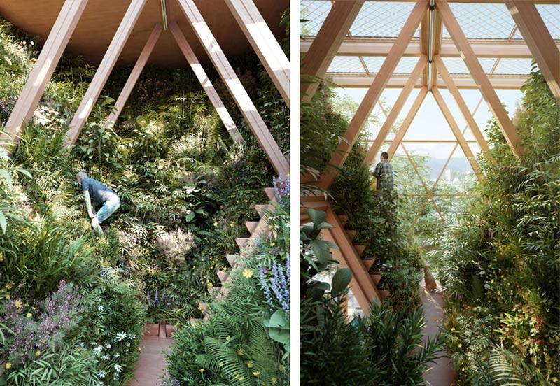 arquitectura Precht Farmhouse huertos en altura render huerto