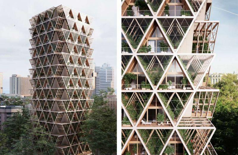 arquitectura Precht Farmhouse huertos en altura render exterior torre rascacielos