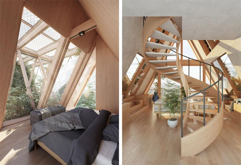 arquitectura Precht Farmhouse huertos en altura render interior planta baja y dormitorio en tienda de campaña