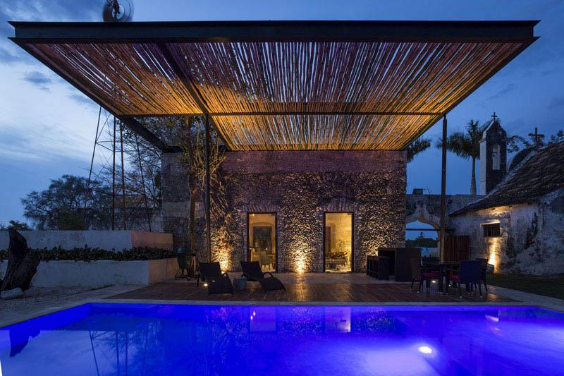 arquitectura rehabilitacion Niop _seccion_vista exterior bar lamina agua