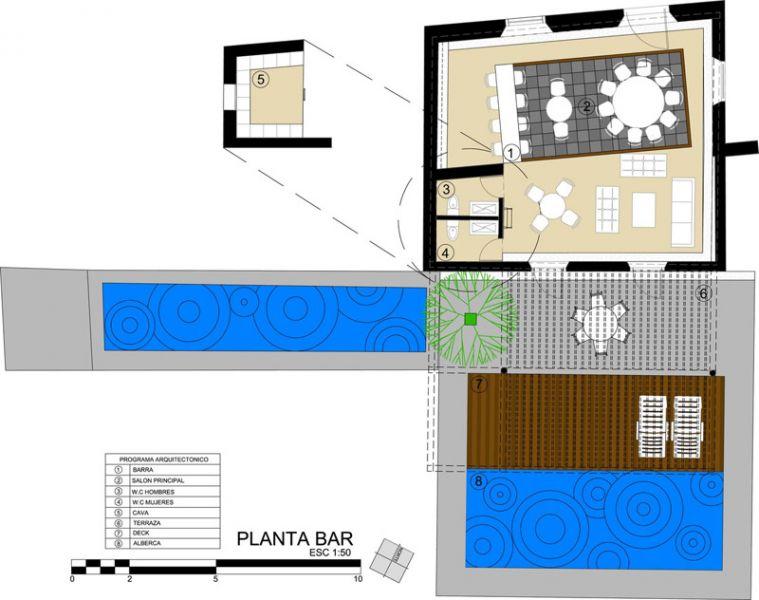 arquitectura rehabilitacion Niop _seccion_planta zona bar