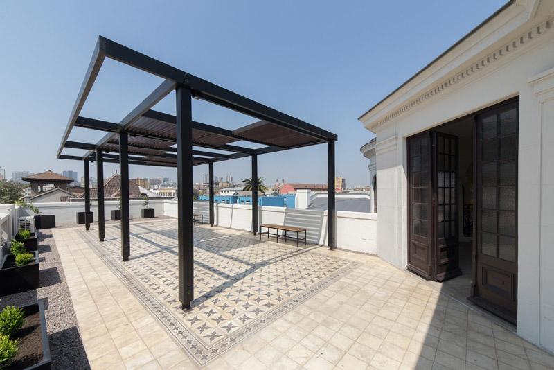 Arquitectura_Restatauración _Palacio Alamos_ Chile_pergolas de cubierta actual