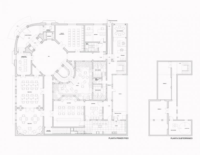 Arquitectura_Restatauración _Palacio Alamos_ Chile_PLANTA_baja y sotano