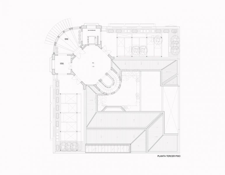 Arquitectura_Restatauración _Palacio Alamos_ Chile_PLANTA_TERCER_PISO_Y_ENTREPISO