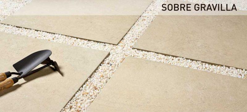 rocersa outdoor 20 suelo gres porcelanico sobre gravilla
