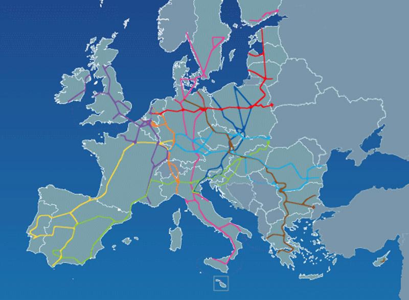 esquema de la Red Transeuropea de Transporte