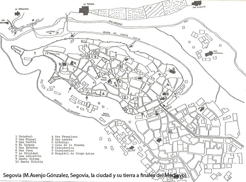 plano de Segovia a finales de la Edad Media