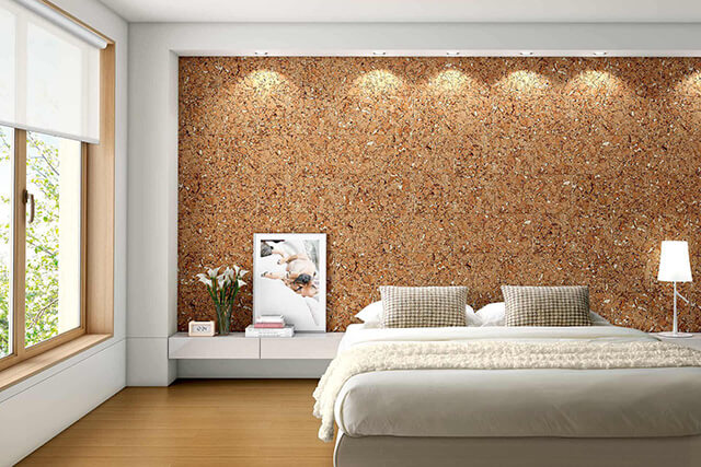 arquitectura sostenible_revestimientos de corcho_pared decorativa aislada_maderame.com