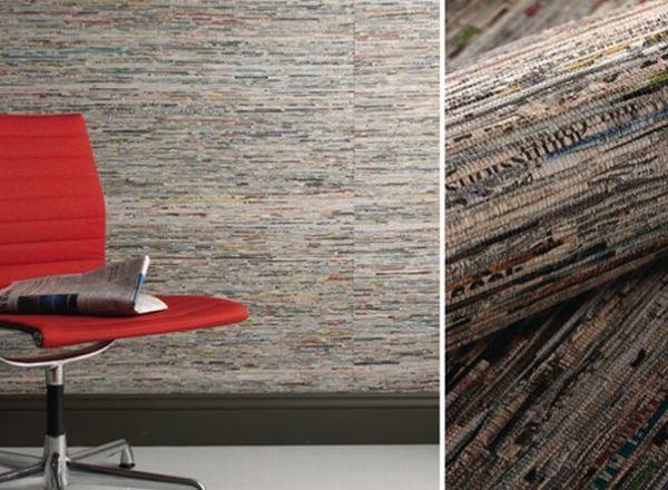 arquitectura sostenible_revestimientos interiores de materiales reciclados_papel periódico
