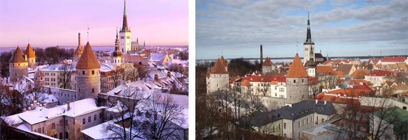 imagen del centro de Tallinn en diferentes estaciones