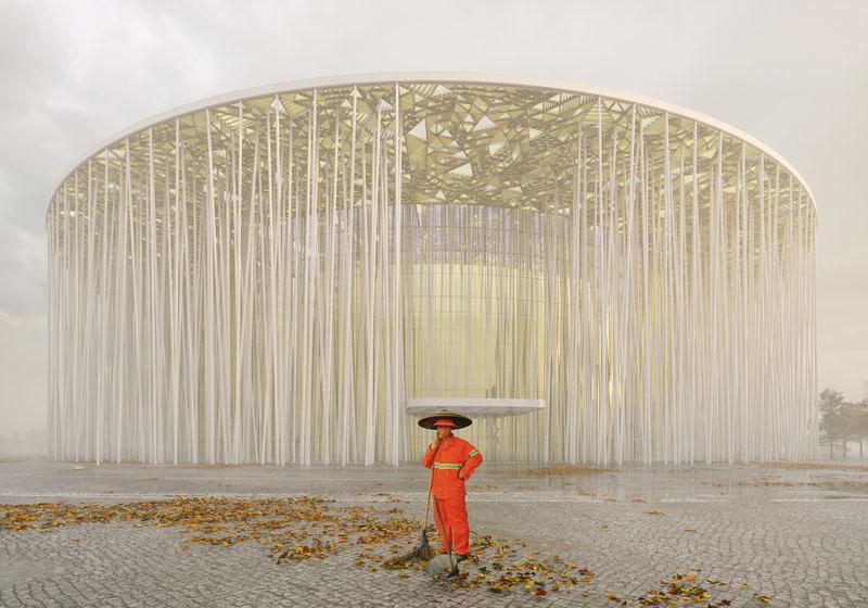 Arquitectura_Teatro Show Wuxi TAIHU_vista con niebla