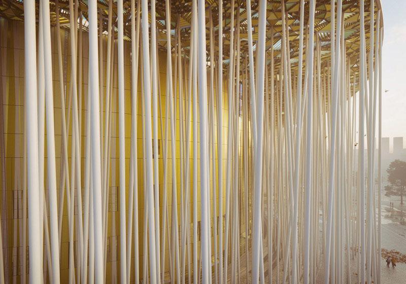 Arquitectura teatro Show Wuxi TAIHU_ bosque  de pilares blanco