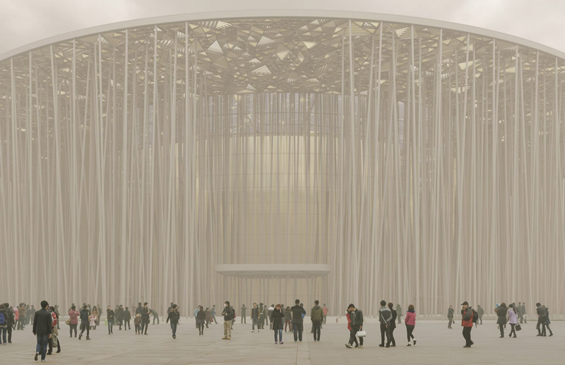 Arquitectura_Teatro Show Wuxi TAIHU_bosque desde el exterior con niebla