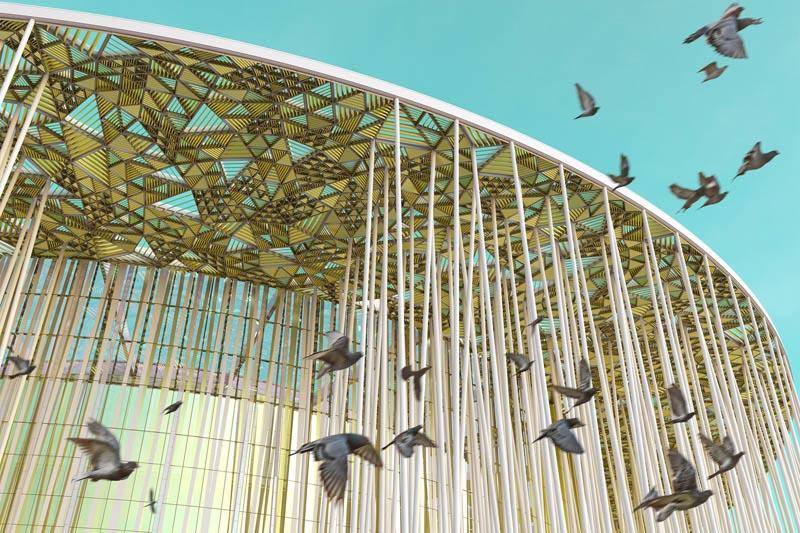 Arquitectura_Teatro Show Wuxi TAIHU_ cubierta desde abajo