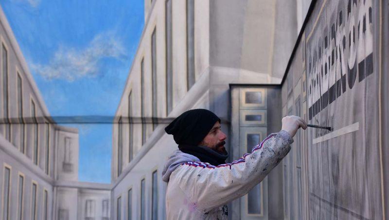 Arquitectura Trampantojo en Elda mural en ejecución