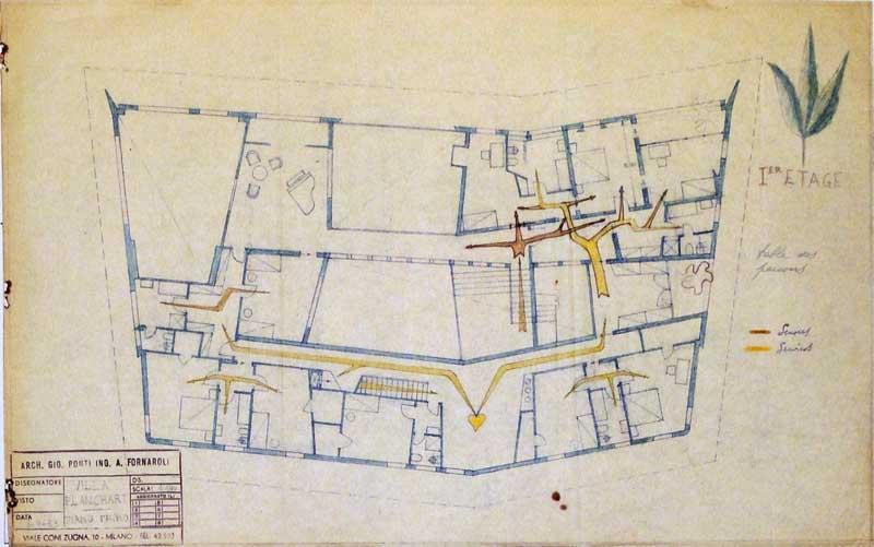 Arquitectura_Villa Planchart _G.Ponti _planos proyecto con anotaciones
