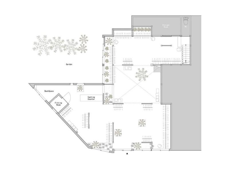 Arquitectura_vivienda japonesa 1940 a Tienda Bankara_planta de la tienda